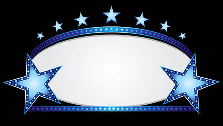 Shiny neon stars over blue oval banner Vector
