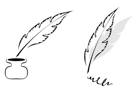 quills: Set of symbols with feather isolated on white