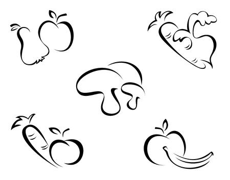 fruit and vegetables: Vegetables symbols