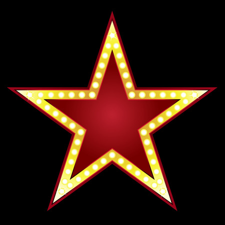 at the movies: Symbol of big red star on black background