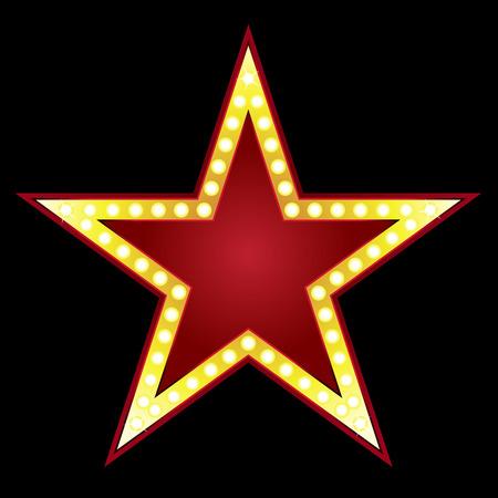 vedette de cin�ma: Symbole de grosse �toile rouge sur fond noir
