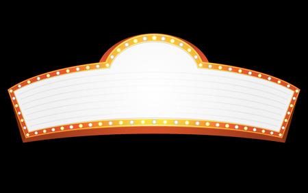 marquee sign: Grande oro banner per cinema, teatro o circo Vettoriali