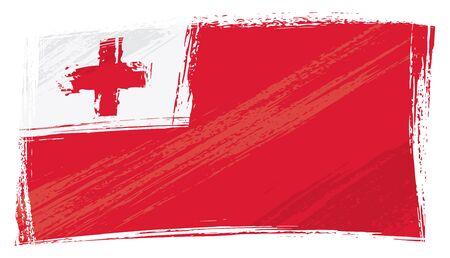 tonga: Tonga national flag created in grunge style Illustration