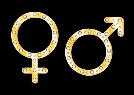 Gold gender symbols Stock Vector - 8476504