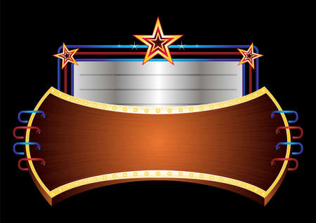 Shiny banner with stars  Vector