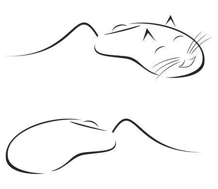 logo informatique: La souris comme dispositif de pc et de la caricature comme animal  Illustration