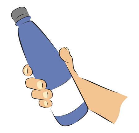 give: Bottle in hand