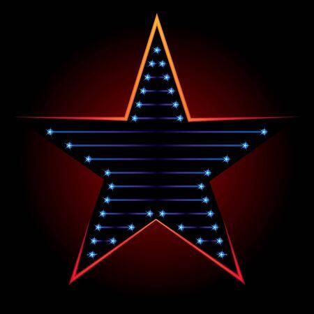 fondo luminoso: Gran estrella azul sobre un fondo negro con luz roja