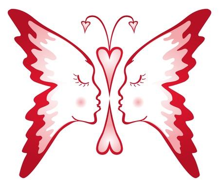 my dear: Due facce composto in forma di farfalla