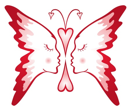 Twee gezichten samengesteld in de vorm van vlinder