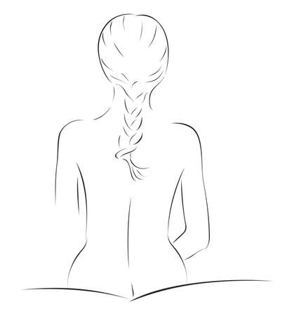 Sketch of naked slim woman with braid Stock Vector - 9242058