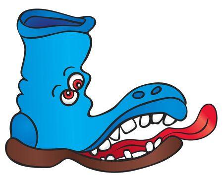 lengua larga: Zapato loco con ojos rojos y lengua larga Vectores