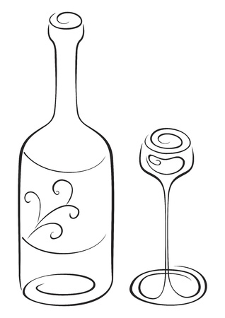 Symbol of bottle and glass on sketch Vector