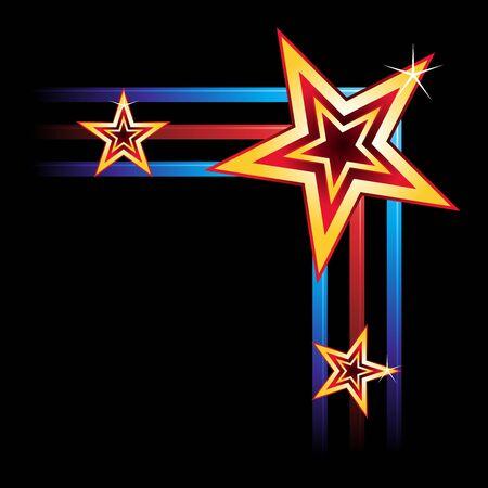 neon party: Angolo del telaio creato delle stelle ed elementi al neon Vettoriali