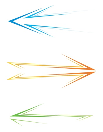 3 point perspective: Set of three colorful pictograms with arrows Illustration