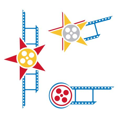 film set: Set of pictograms with film and star