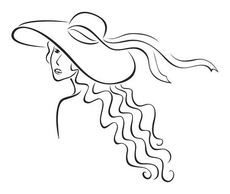 Mujer de elegancia con pelo largo en el sombrero