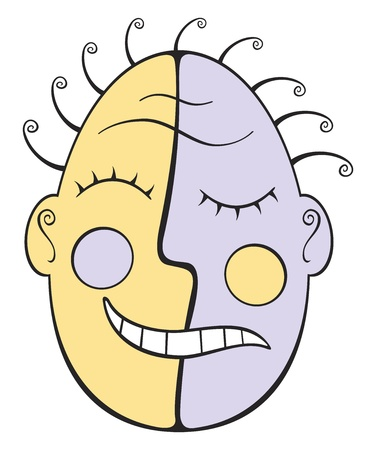 hair mask: Tribal mask with sad and happy face Illustration
