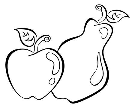 Black symbol of apple and pear on white Vector