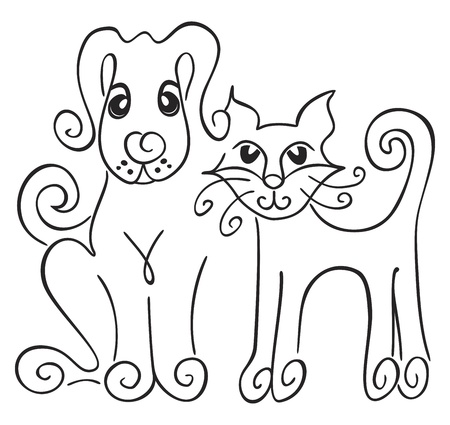 black dog: Friendship of cat and dog on illustration