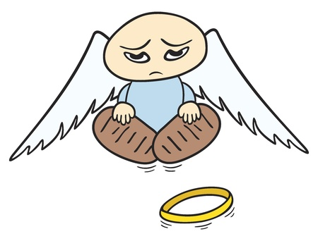 angel white: Little sad angel with broken halo on the ground