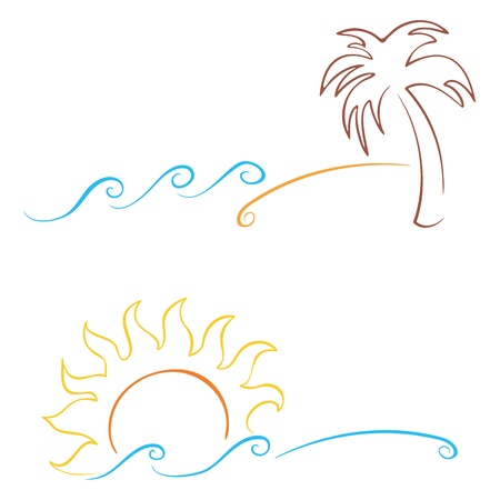 tidal wave: Tropics symbols with palm sun and sea