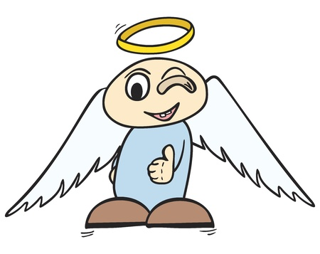 Little angel with halo over head showing ok sign