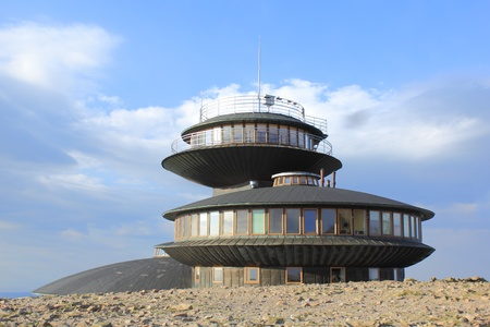 sudeten: Meteorological observatory on the top of Sniezka mountain in Poland