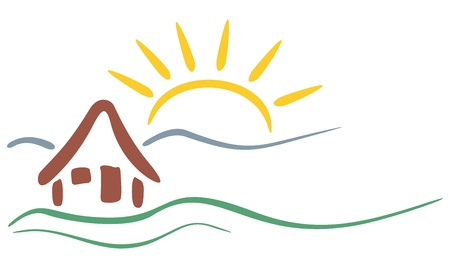 Symbol of house and mountains with sun in background  Vector