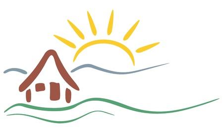 Symbool van het huis en de bergen met zon op de achtergrond Stock Illustratie