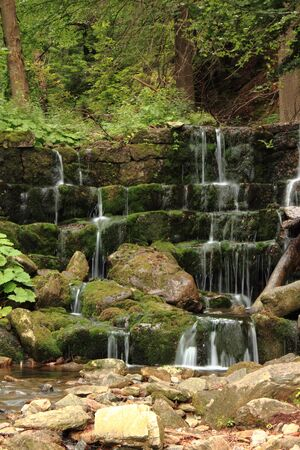 sudeten: Beautiful mountain waterfall in forest Kowary Poland
