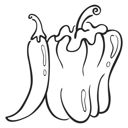 paprika: Black symbol of paprika isolated on white