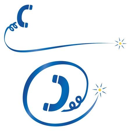 cable telefono: Pictogramas con símbolo de auricular del teléfono y cable