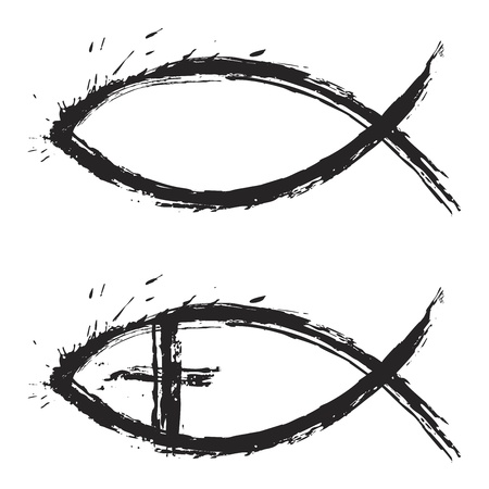 christian fish: Peces de religi�n cristiana s�mbolo creado en estilo grunge