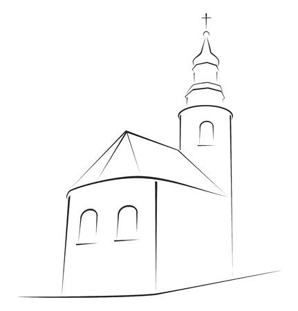 Structure de l'église sur la simple esquisse Vecteurs