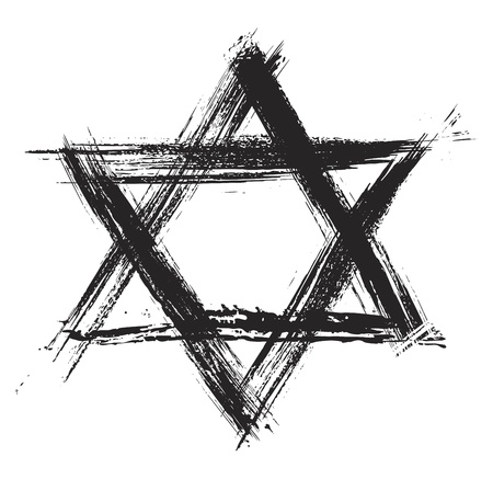 star of david: Judaic religion symbol created in grunge style Illustration