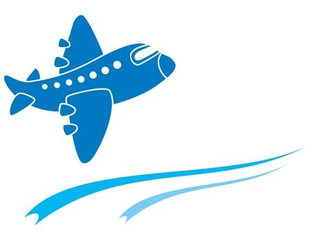 oorkonde: Ontwerp van blauwe vliegtuig op wit wordt geïsoleerd Stock Illustratie