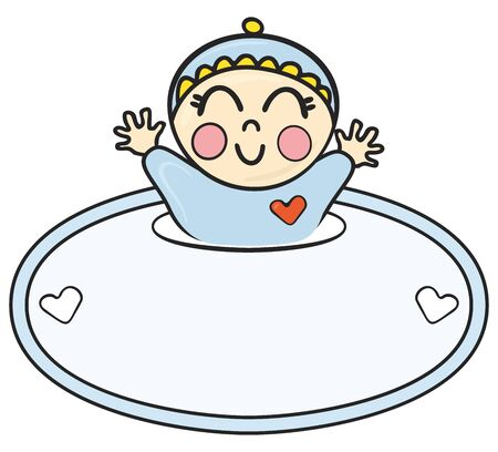 cute border: Happy smiling baby getting throw label on illustration