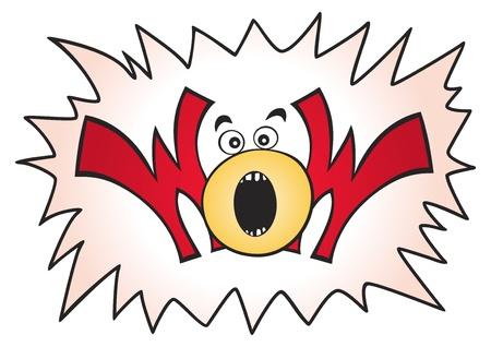 wow: Ilustración de palabra gran WOW con explosión en segundo plano Vectores