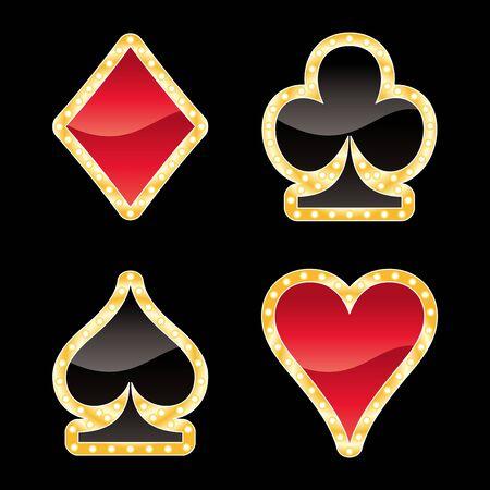 heart diamond: Gold card symbols isolated on black background