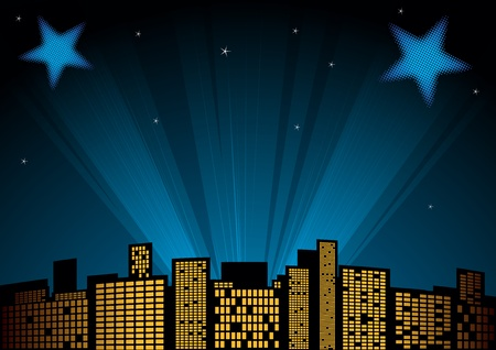 View of city at night with spotlights in background Vector