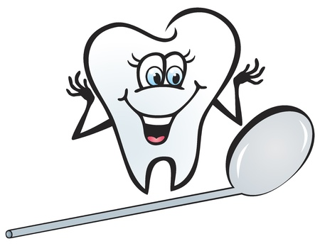 toothache: Illustration of happy tooth looking in the mirror
