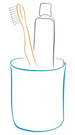 holten: Illustratie van apparatuur voor mondgezondheid
