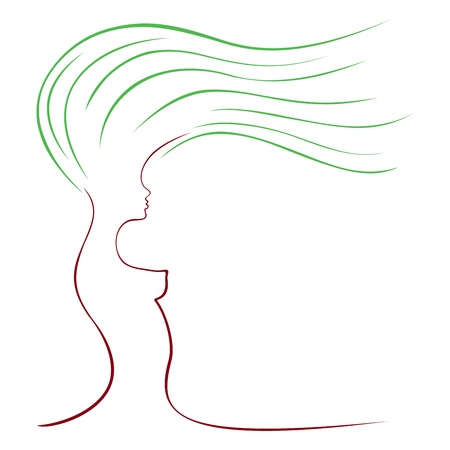 Abstract symbol of tree with shape of woman Vector