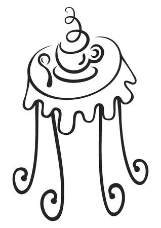 Schets van hete kop met stoom op de tafel