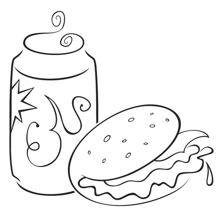 Sketch of fast food isolated on white Vector