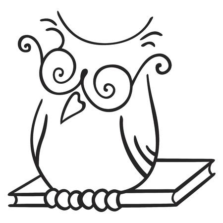 civetta bianca: Illustrazione di posti a sedere gufo sul libro