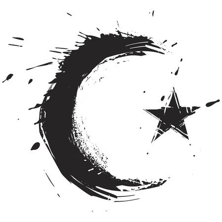 utworzonych: Islamski symbol religia powstała w stylu grunge Ilustracja