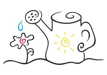regando el jardin: Ilustraci�n de agua puede y flores en blanco