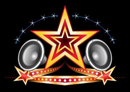 Kracht van muziek ster met neon-elementen op zwart